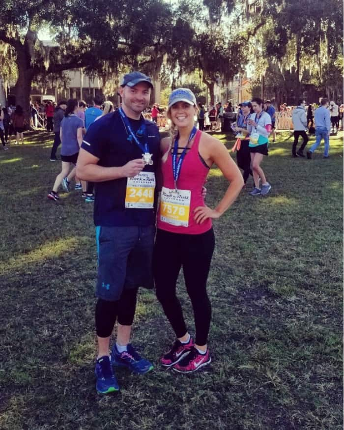 Lindsey and Joey after running the Savannah half marathon in 2018