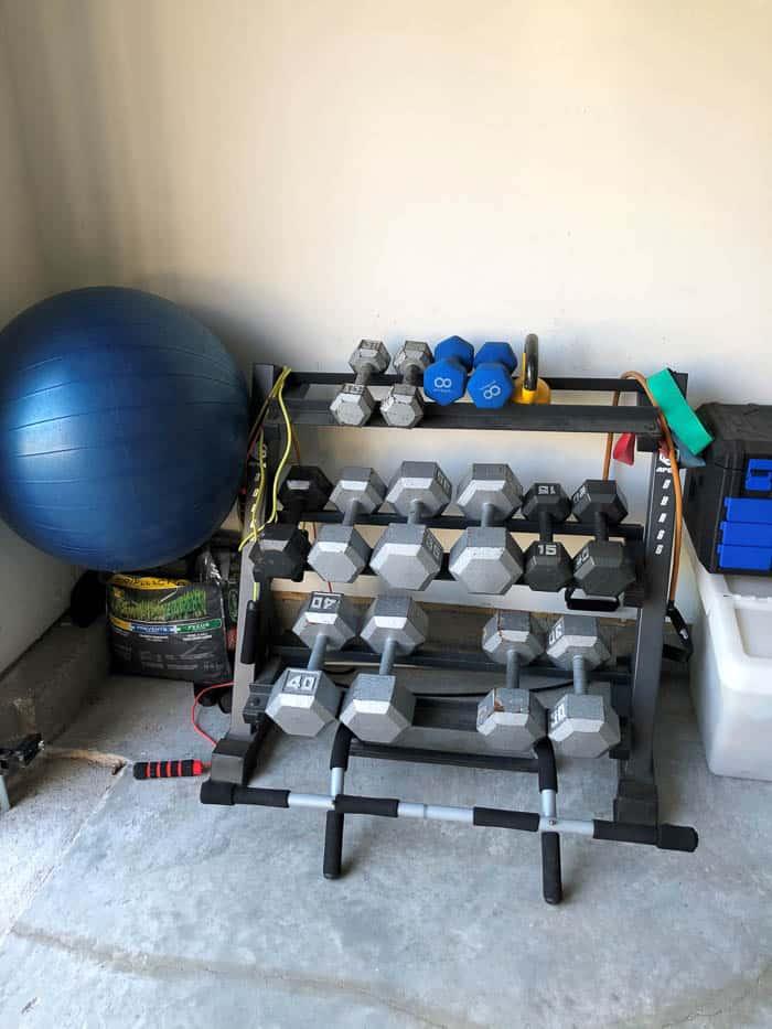 Weight set-up in the garage