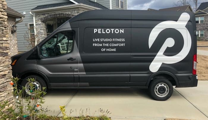 Peloton bike being delivered