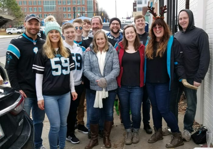 Lindsey and family at their Panthers football tailgate