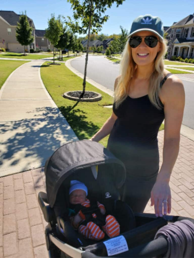Lindsey and Jacob on their first stroller walk together in the neighborhood