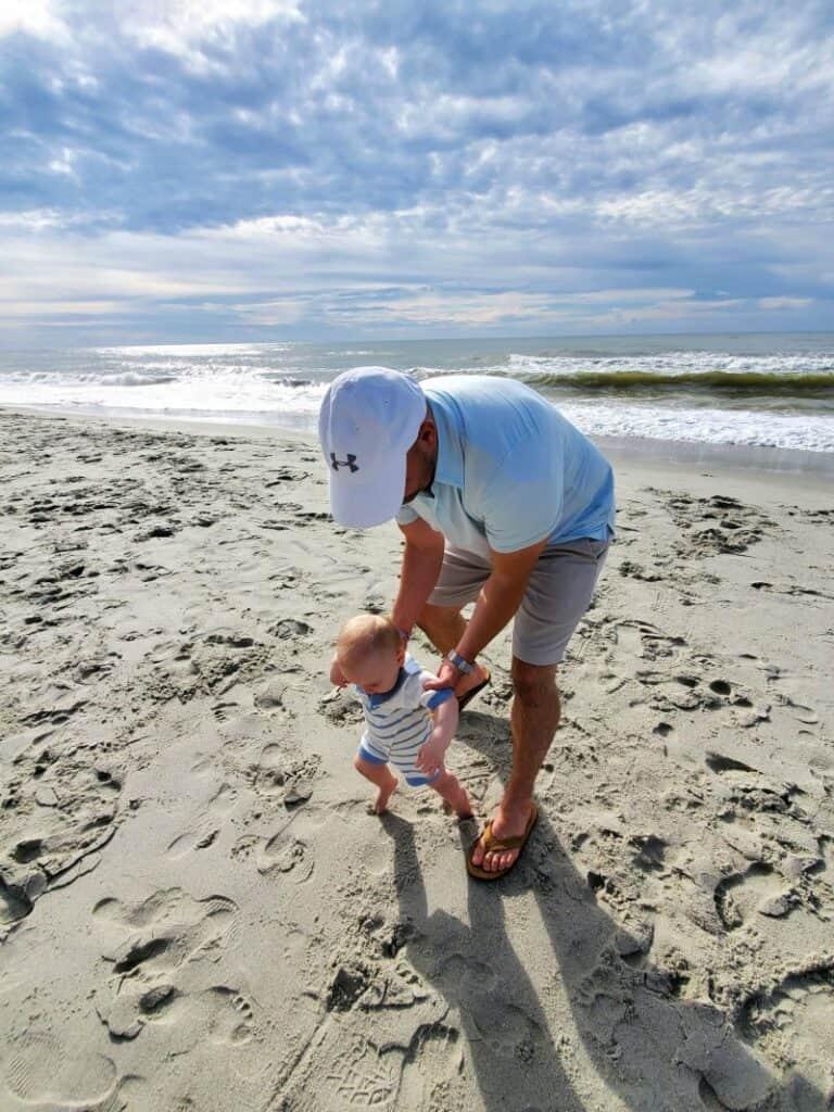 Joey and Jacob walking on the beach