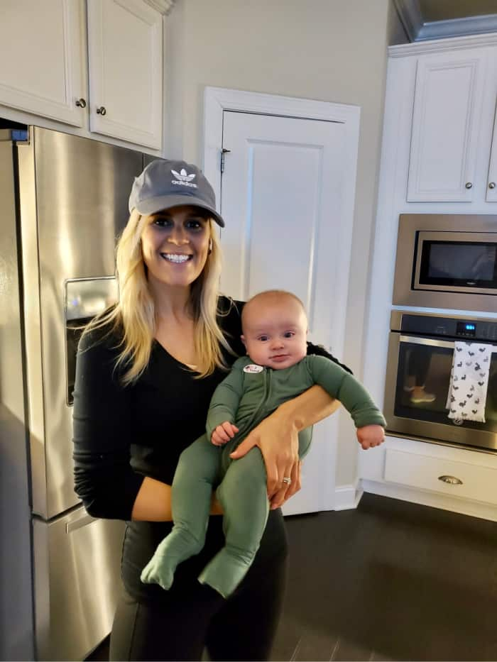 Lindsey with Jacob in the kitchen