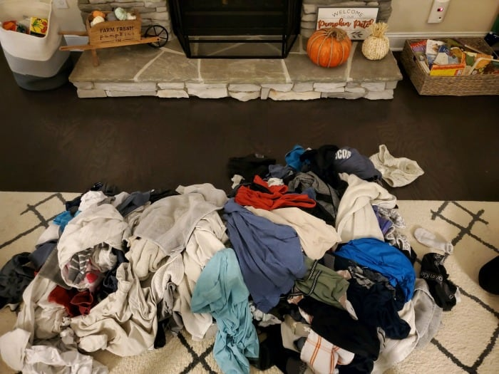 A giant heap of laundry that needs to be folded