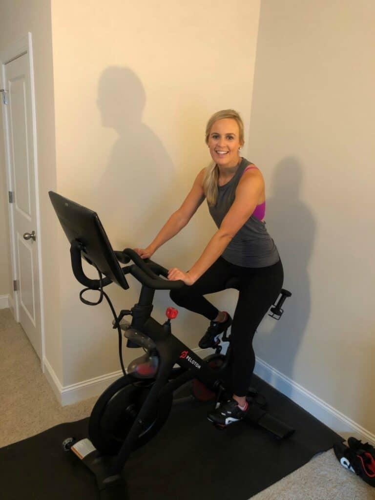 Lindsey on the Peloton bike