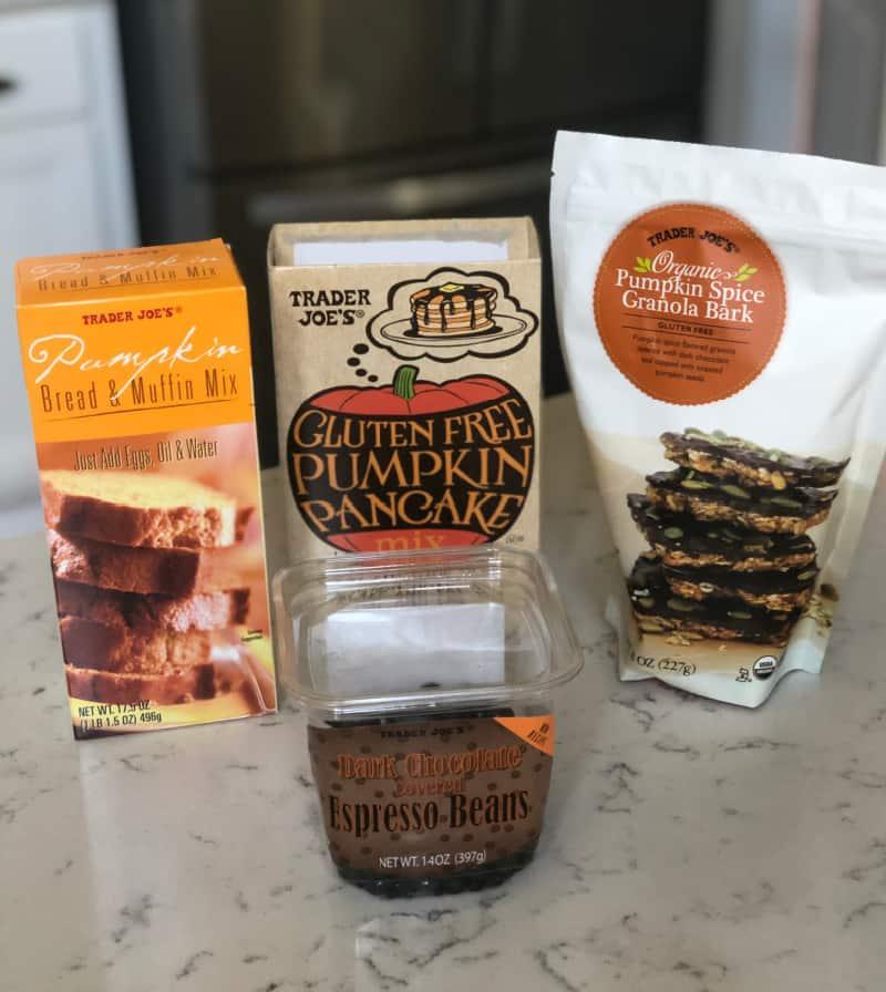 Pumpkin bread muffin mix, Gluten free pumpkin pancake mix, organic pumpkin spice granola bark, and dark chocolate covered espresso beans
