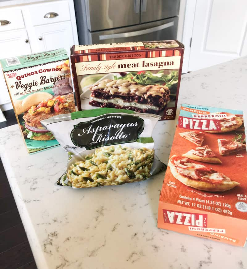 Frozen pepperoni pizzas, meat lasagna, asparagus risotto, and veggie burgers
