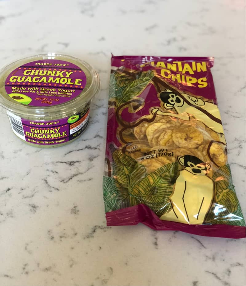 Chunky guacamole and a bag of plantain chips