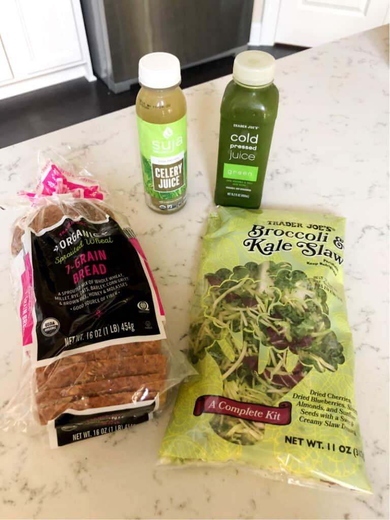 Sprouted grain bread, celery juice, green juice, and broccoli/kale slaw salad