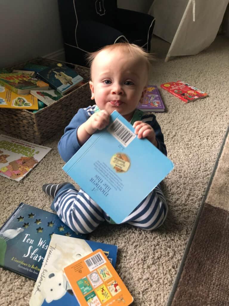Jacob eating a book.