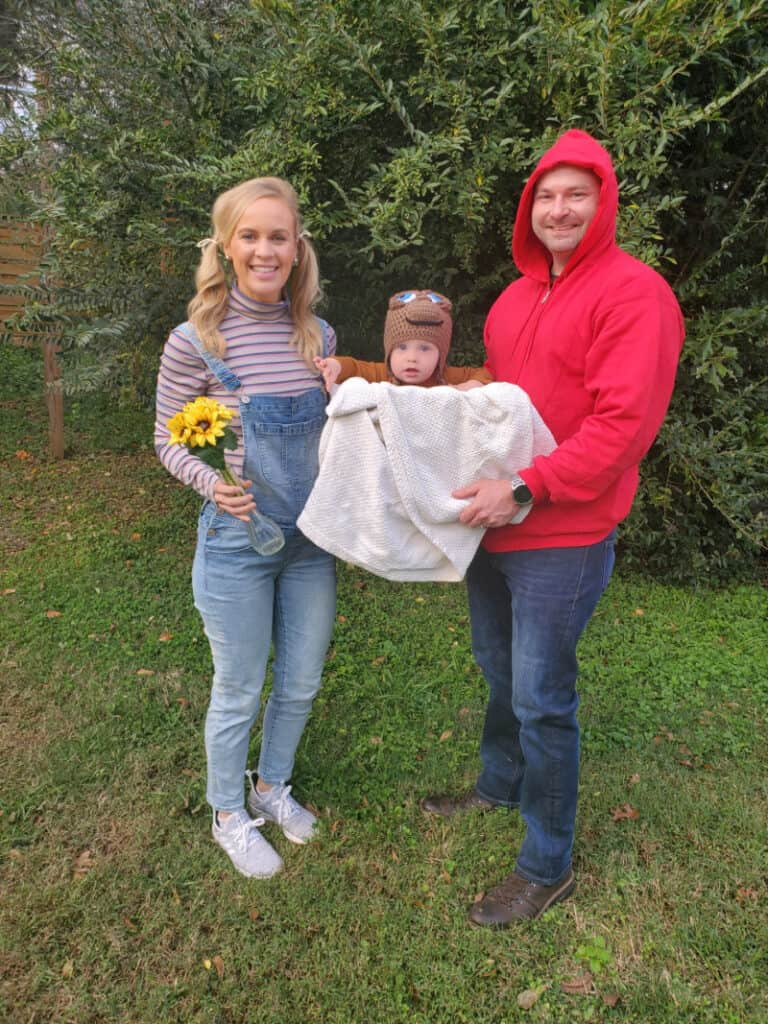 Lindsey, Jacob and Joey dressed up as Gertie, Elliot and E.T.