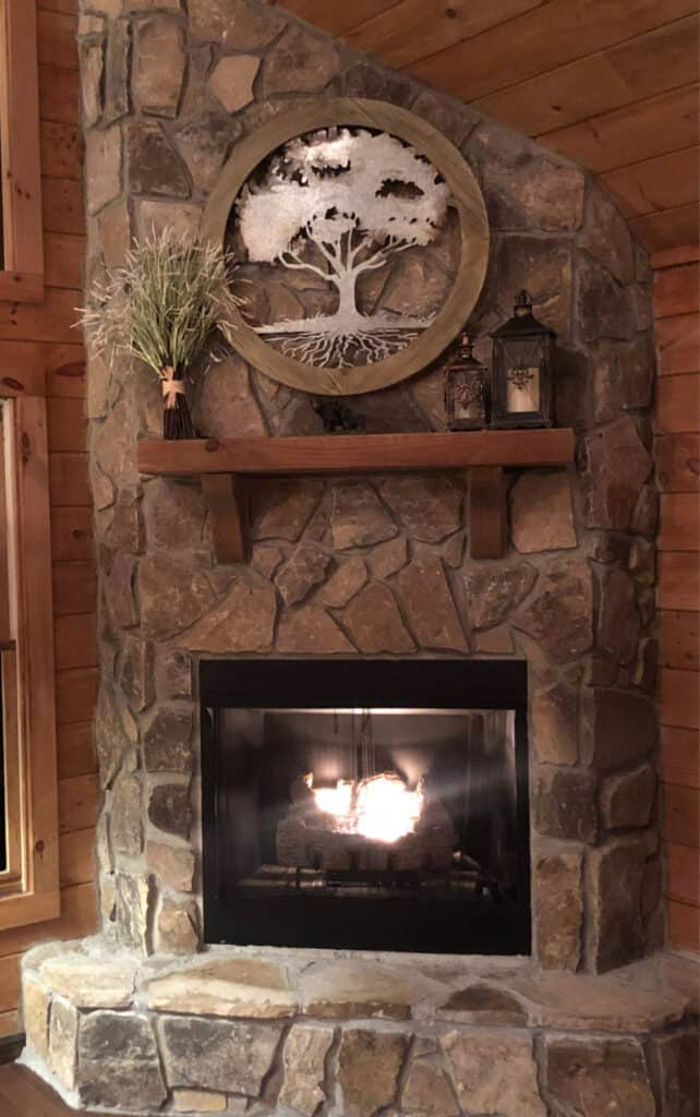 The fire going in the cabin and the gorgeous stone fireplace.