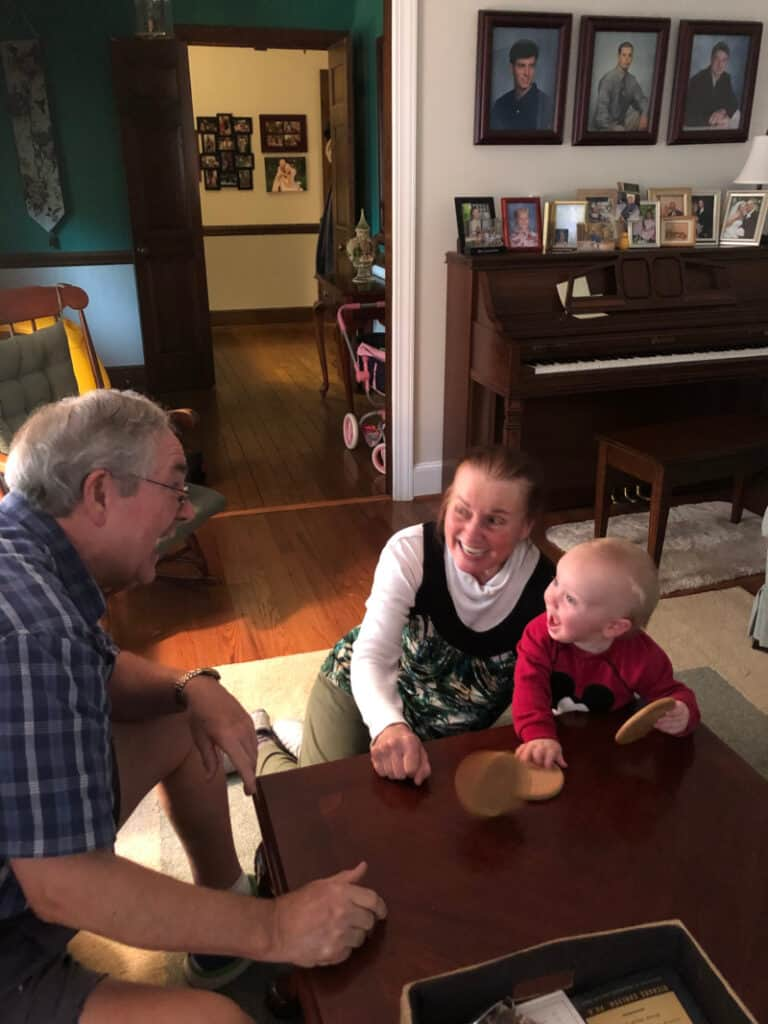 Jacob playing with Mimi & Papa in their living room
