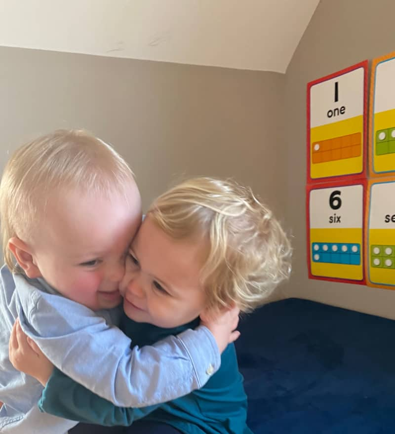 Jacob hugging Emersyn
