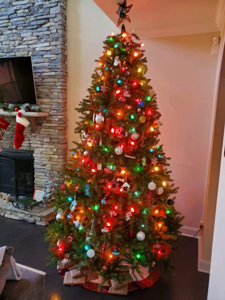 Fake Christmas tree in the living room