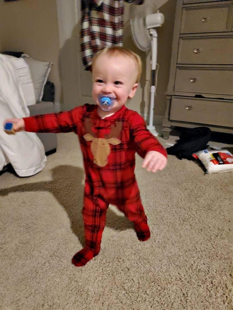 Jacob with a big smile on Christmas morning