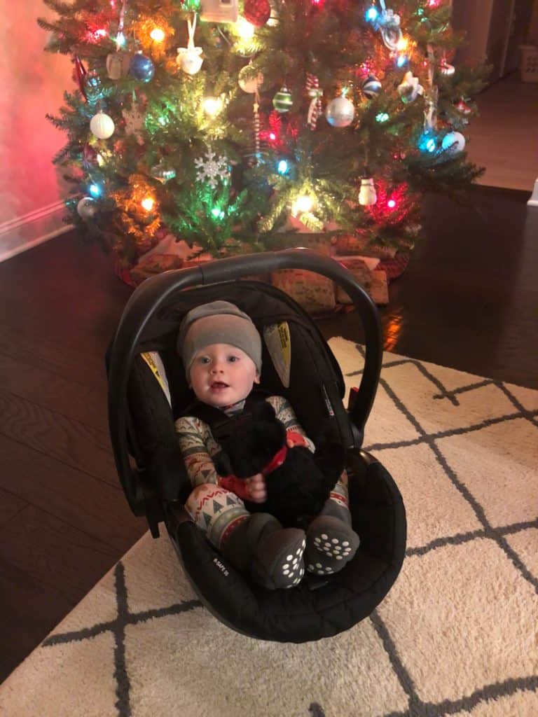 Jacob in his car seat by the tree