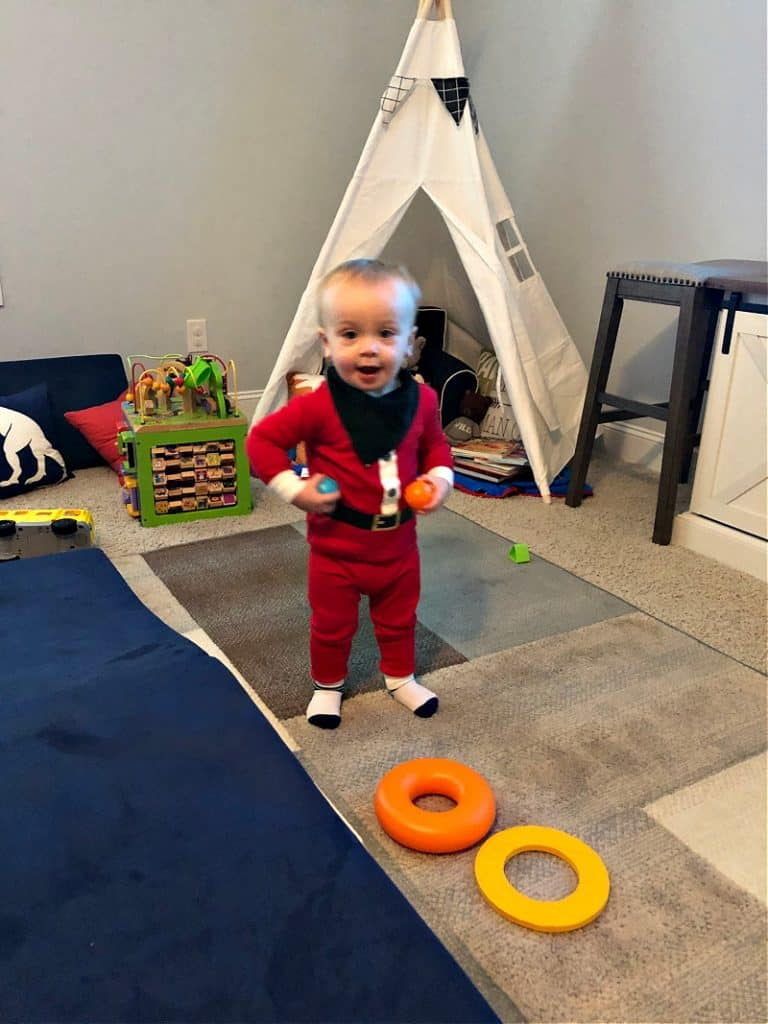 Jacob in the playroom with new toys.