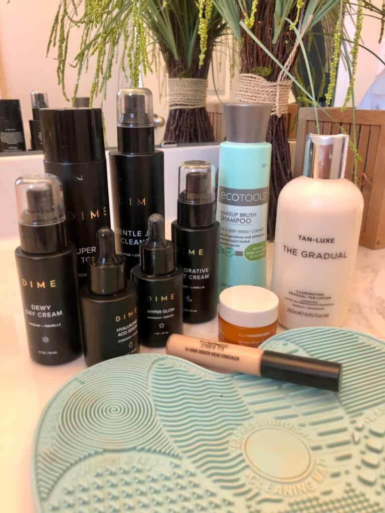 Products on bathroom counter